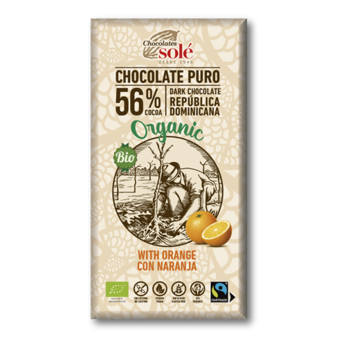 CHOCOLATE NEGRO 56% CON NARANJA ECO