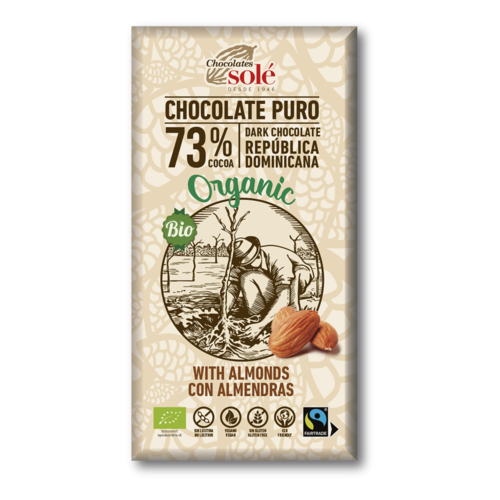 CHOCOLATE NEGRO 73% CON ALMENDRAS ECO